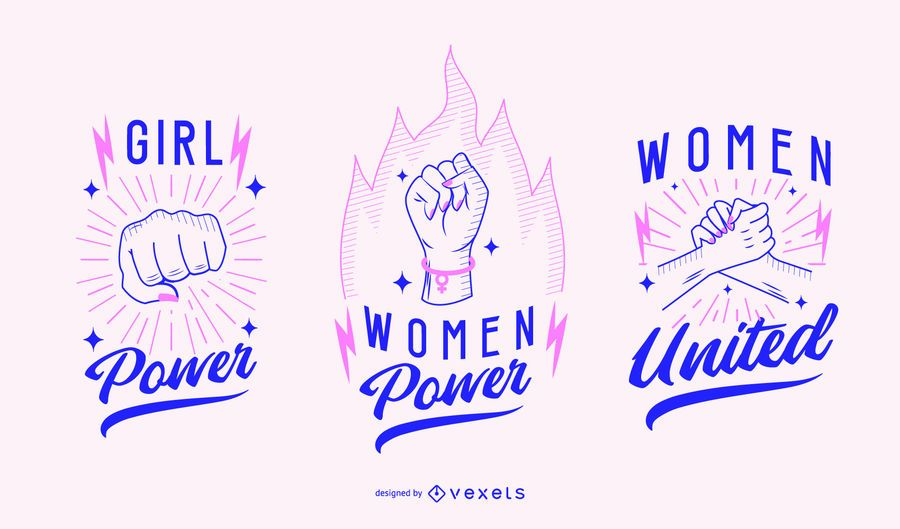 Conjunto de distintivo de dia das mulheres