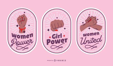 Conjunto de emblemas do dia feminino