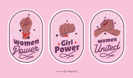 Women's day badges set