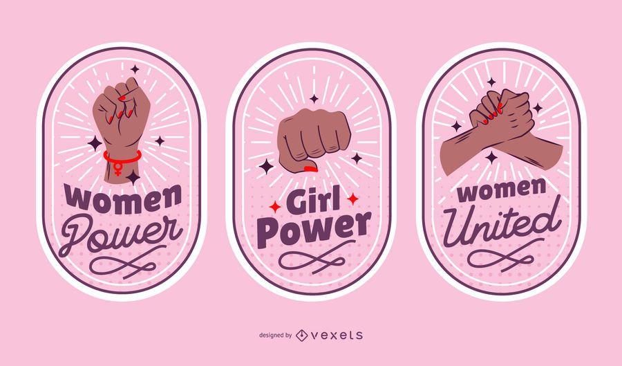 Women's day badges set