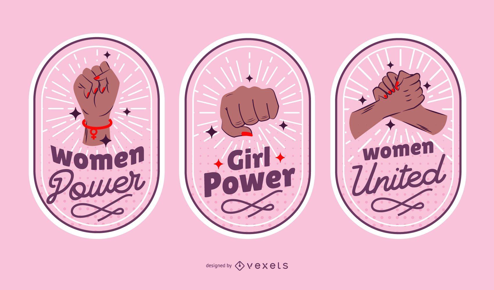 Conjunto de insignias del día de la mujer.