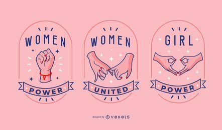 Conjunto de insignias del día de la mujer