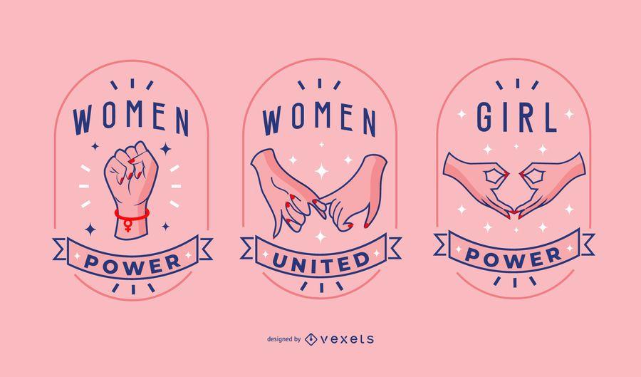 Conjunto de insignia del día de la mujer