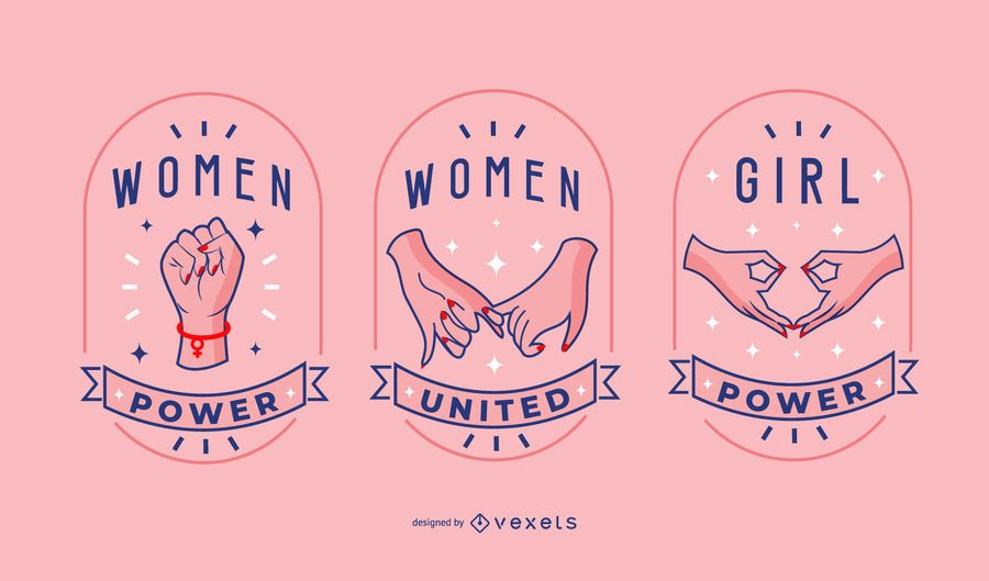 Women day badge set