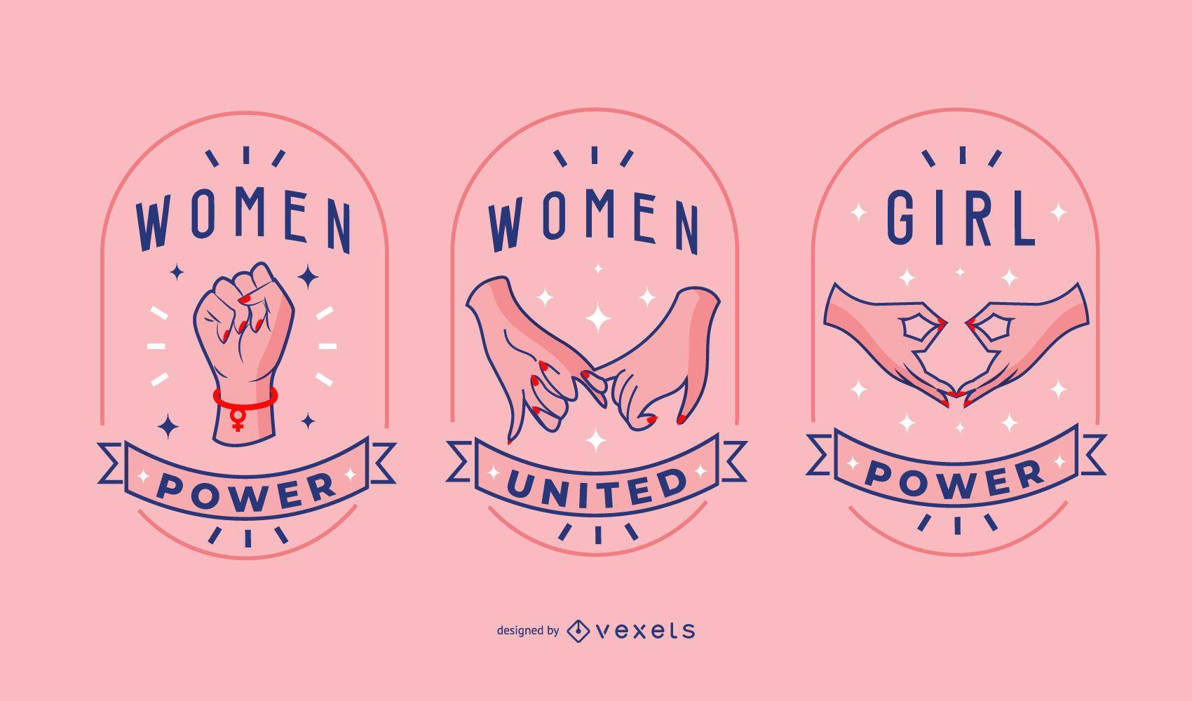 Women day badge set
