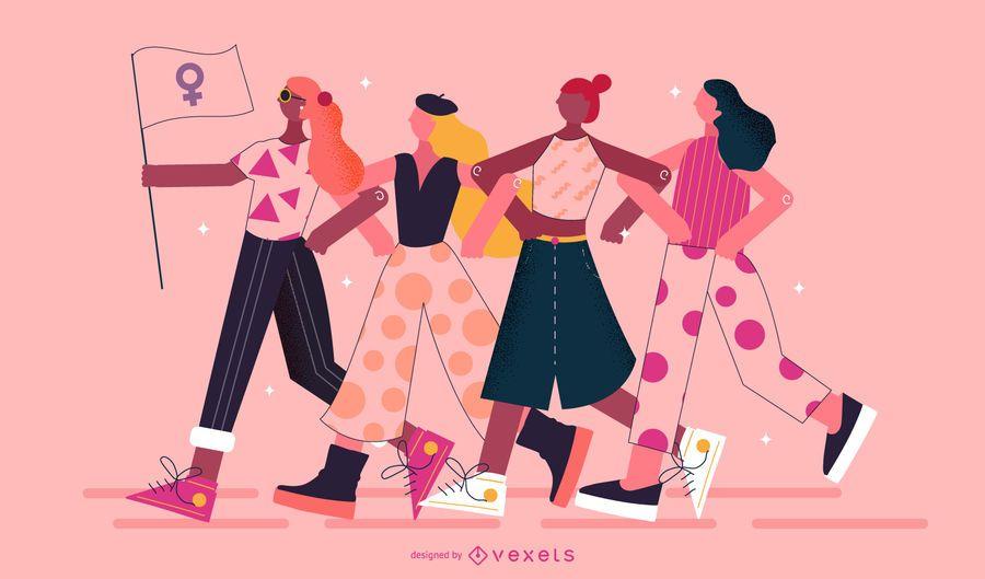 Diseño de personajes para niñas del día de la mujer