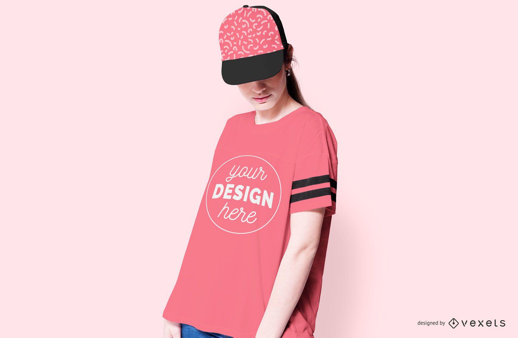 T-shirt and hat model mockup