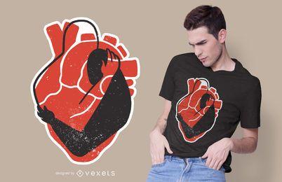 Projeto do t-shirt do abraço do coração