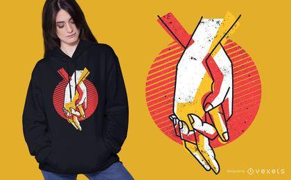 De mãos dadas design de t-shirt