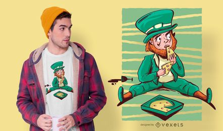 Design de t-shirt de pizza de St Patrick