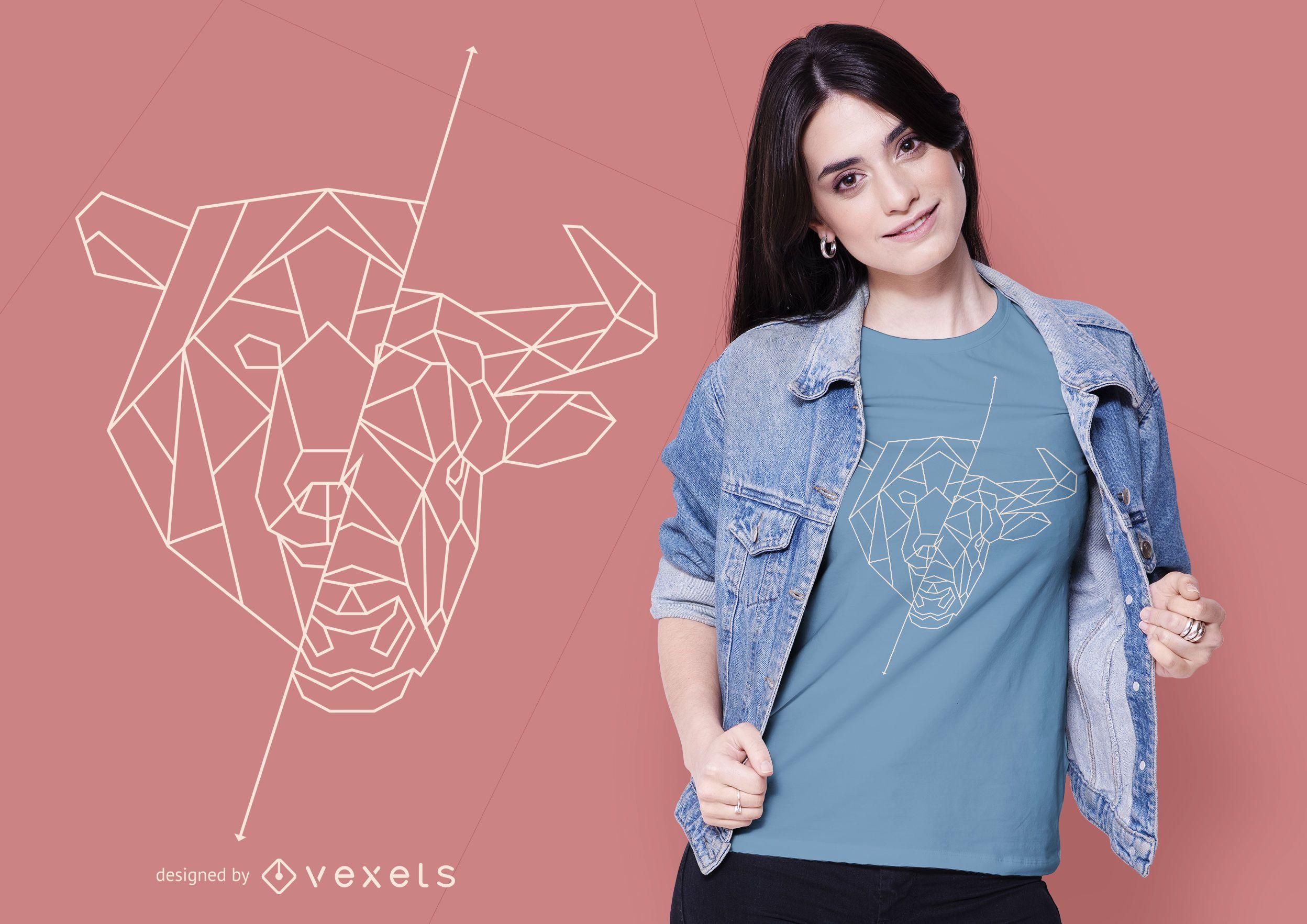 Geometric Bear Bull T-shirt Design