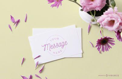 Maqueta de tarjeta floral
