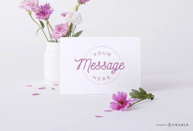 Maquete de psd de cartão floral