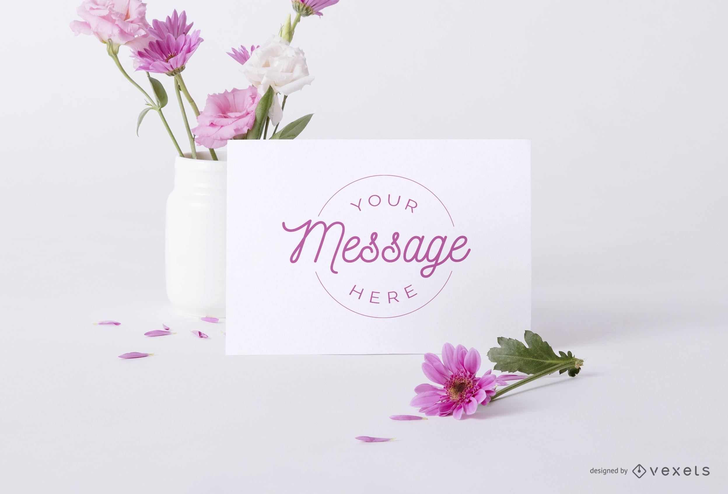 Floral card psd mockup