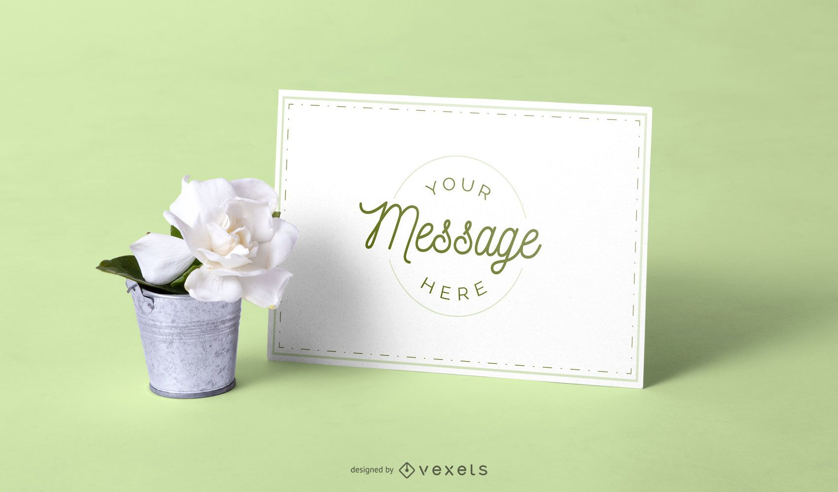 Card and flower mockup