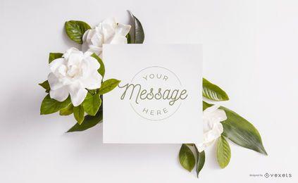 Composição de maquete floral de cartão
