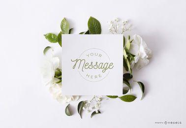 Composição de maquete de cartão floral