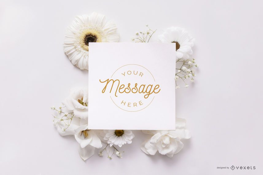 Card over white flowers mockup