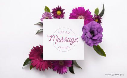Cartão sobre maquete de flores