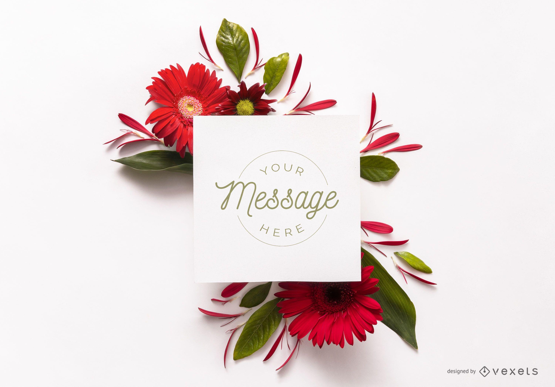 Card over flowers mockup design