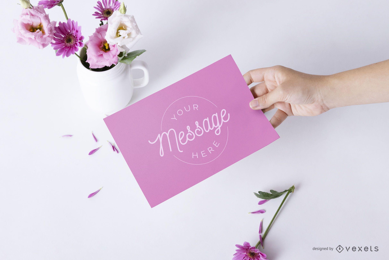 Hand holding card floral mockup