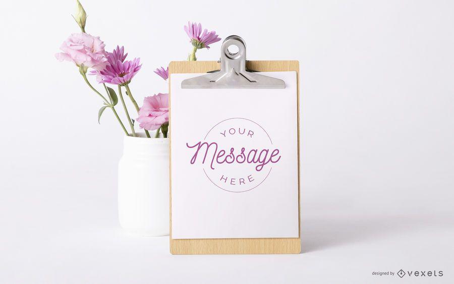 Clipboard floral mockup