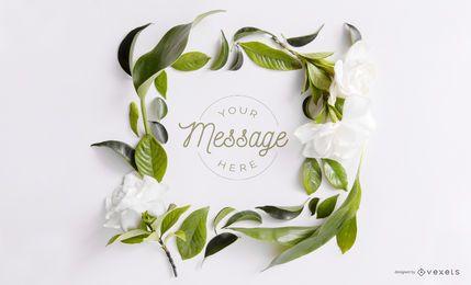 Floral frame mockup design