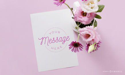 Maquete floral de carta