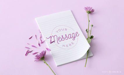 Maqueta floral de cuaderno