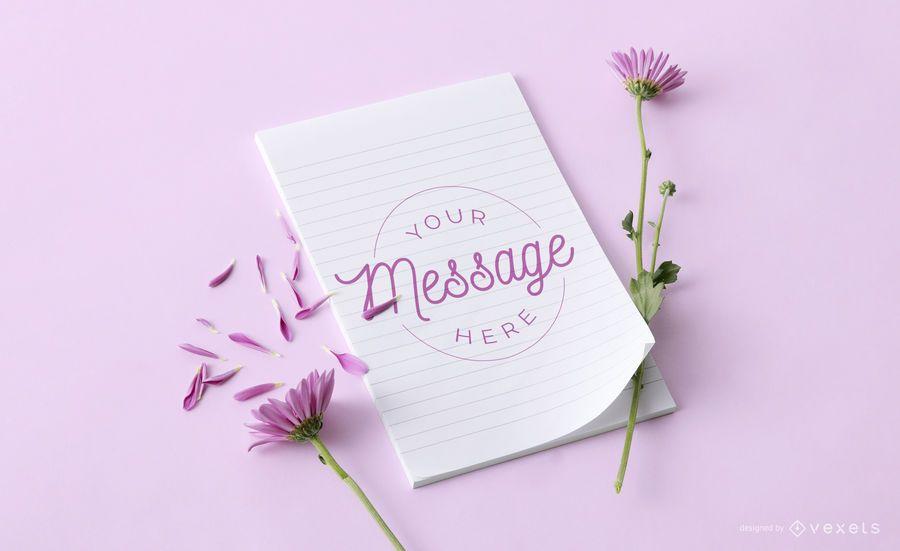 Notebook floral mockup