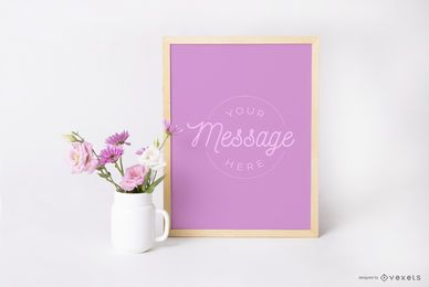 Design de maquete floral de cartaz emoldurado