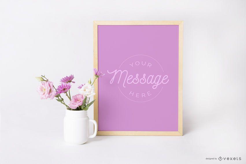 Design de maquete floral de pôster emoldurado