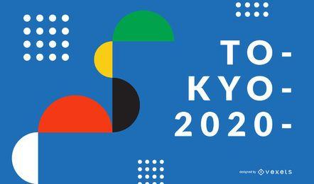 Fondo de formas geométricas Tokio 2020