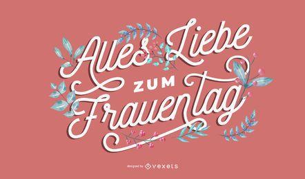 Design de letras alemãs para o dia da mulher