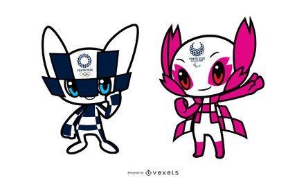 Maskottchen-Charakter-Design der Olympischen Spiele 2020 in Tokio