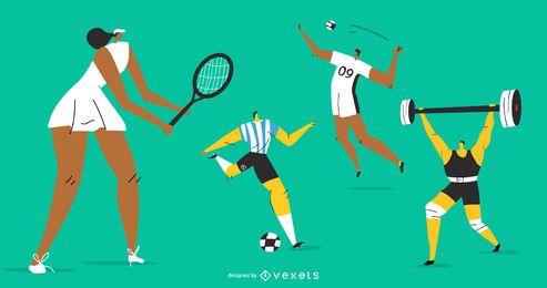 Conjunto de caracteres olímpicos deportivos