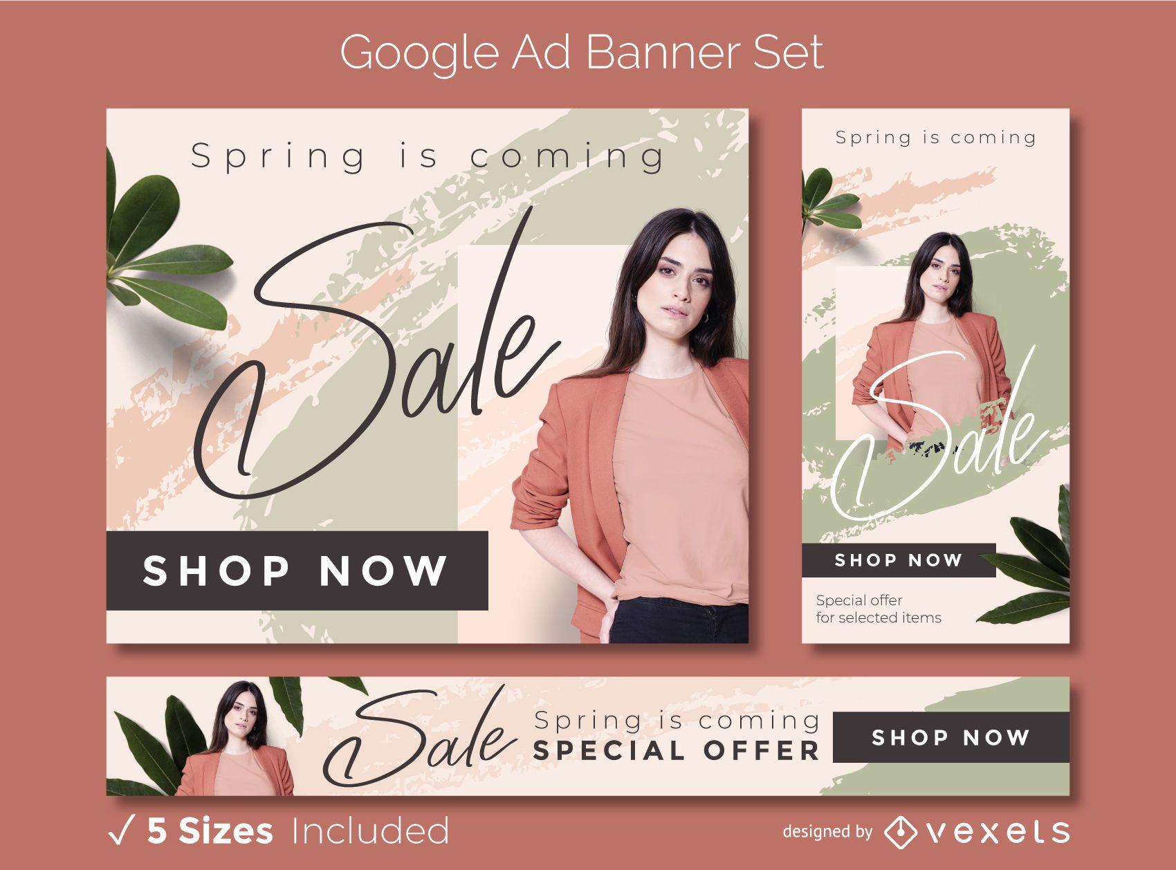 Conjunto de diseño de banner de primavera
