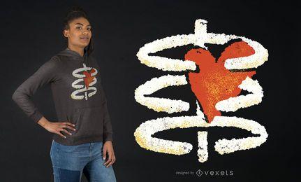 Design de camiseta em forma de coração e caixa torácica