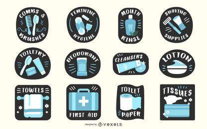 Conjunto de etiquetas de banheiro