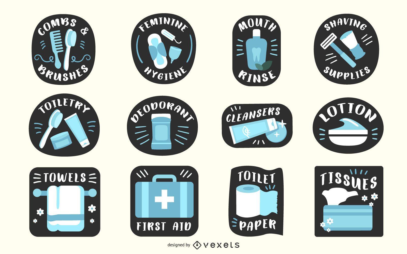 Conjunto de etiquetas de baño