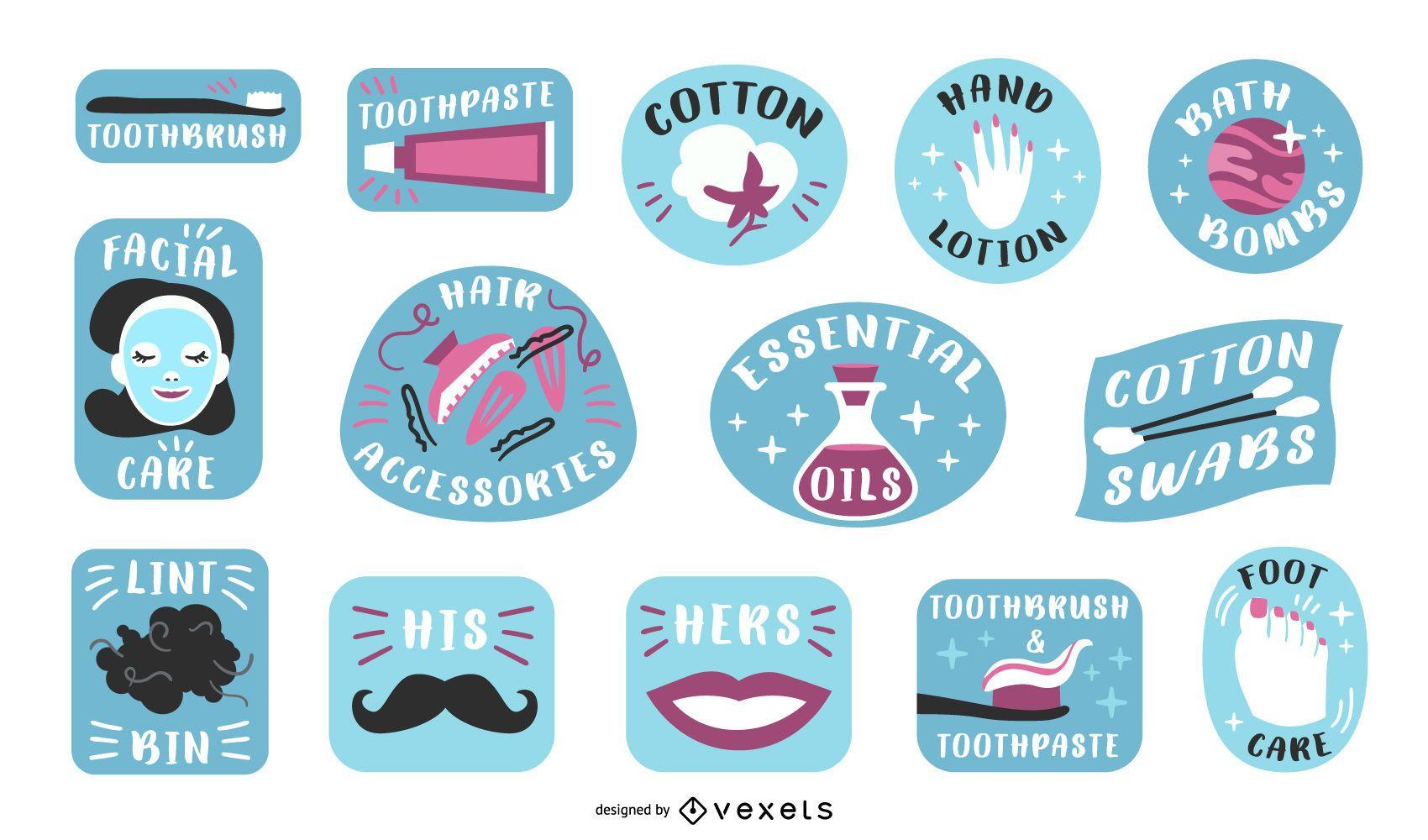Paquete de etiquetas de baño