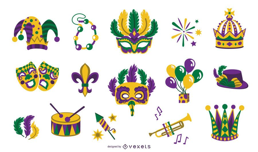 Mardi gras flat elements collection