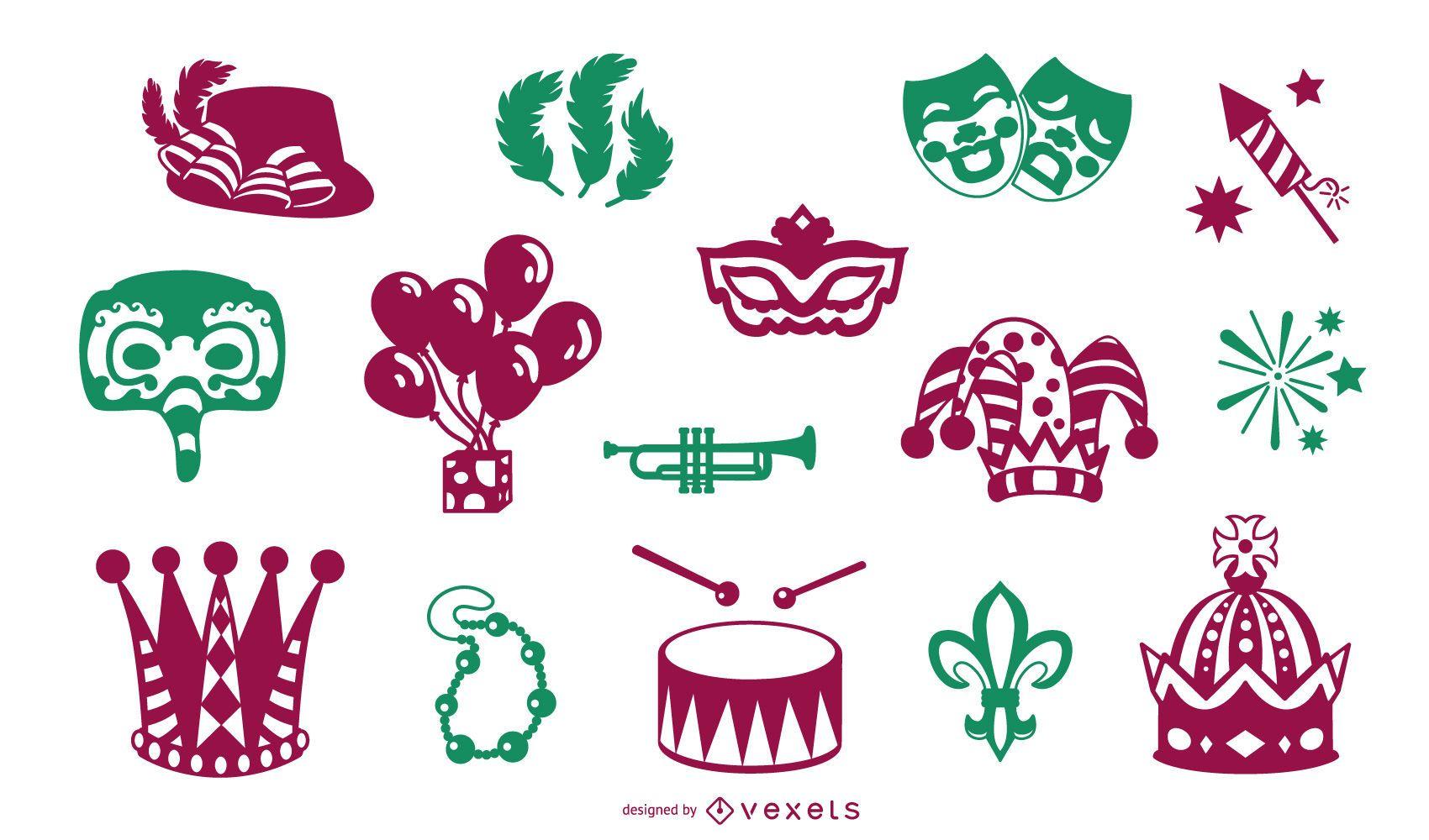 Colección de elementos de mardi gras