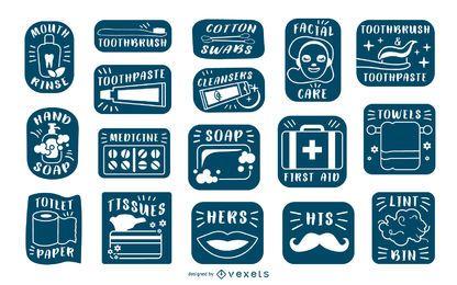 Colección de etiquetas de baño