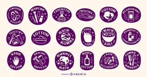 Conjunto de etiquetas de silhueta de produto de banho