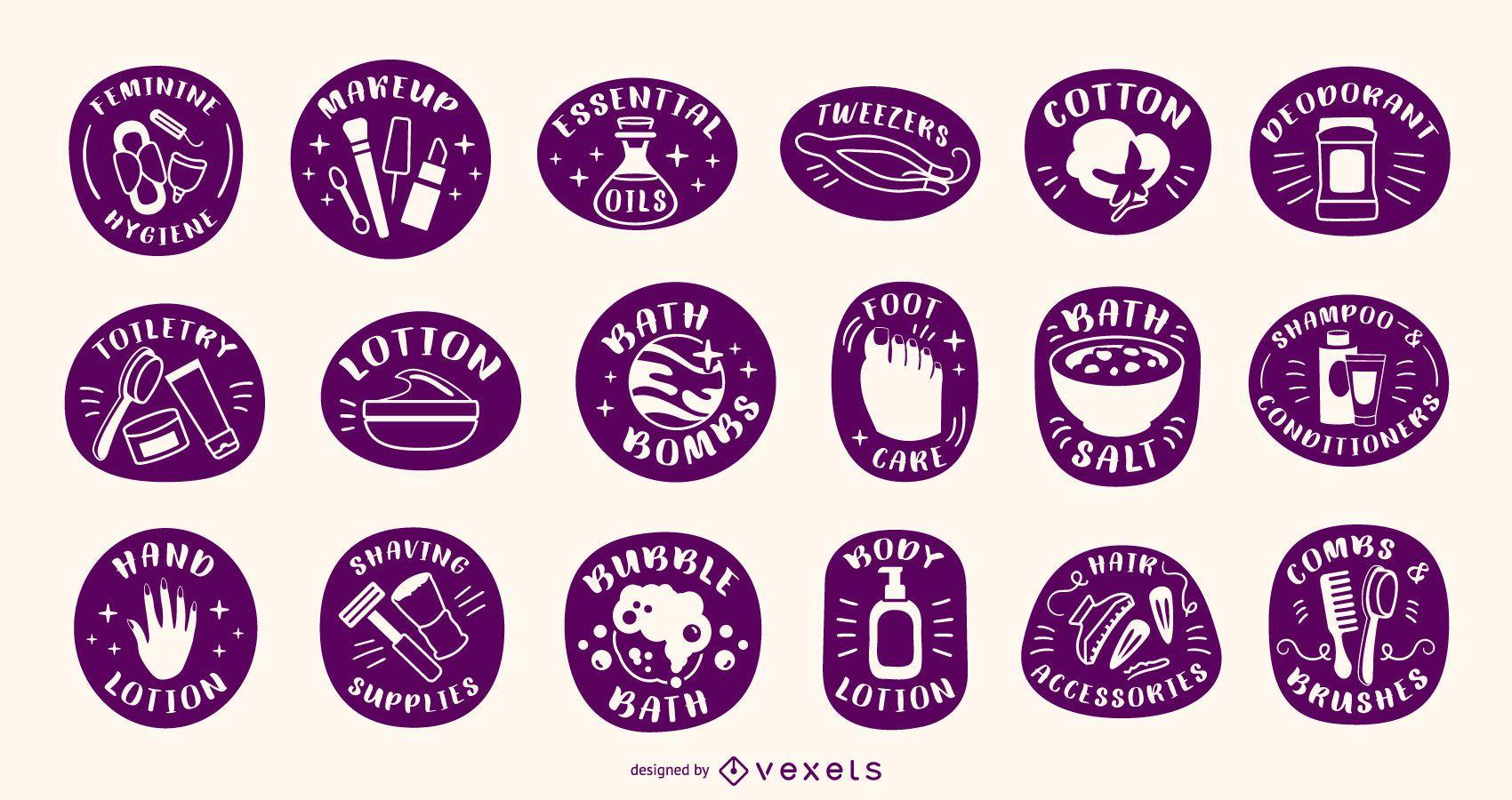 Conjunto de etiquetas de silhueta de produtos para banho