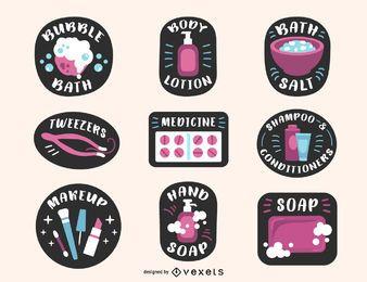 Conjunto de etiquetas de produtos de banheiro colorido