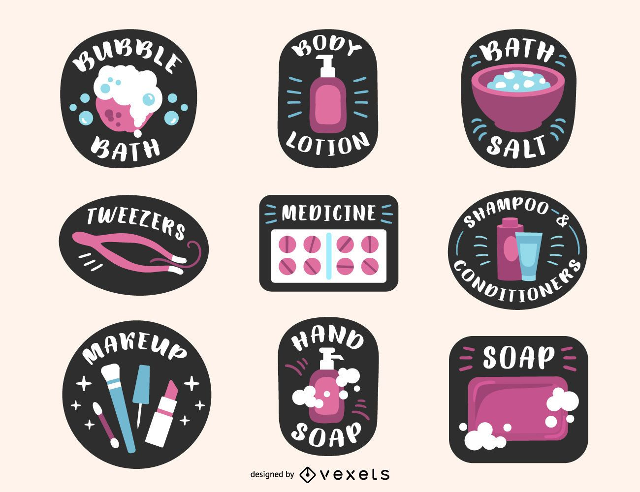Conjunto de etiquetas coloridas de produtos para banheiro