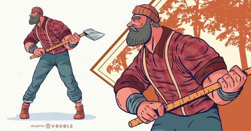 Ilustración de personaje masculino de leñador