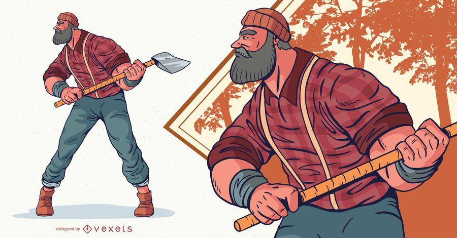 Lumberjack Male Character Illustration